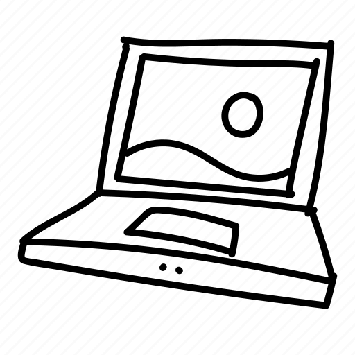laptop drawing images with basic application