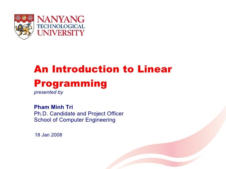 introduction to basic linear programming pdf