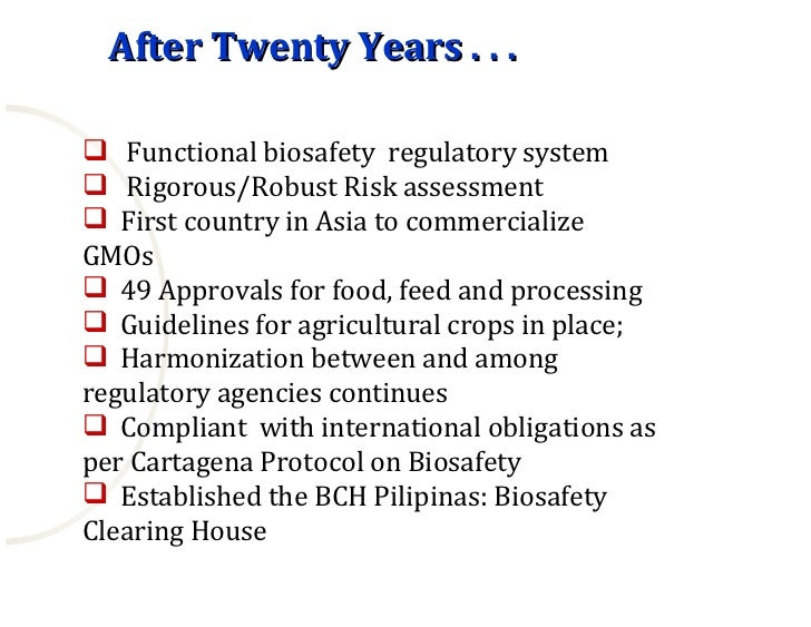 international biosafety guidelines in the philippines