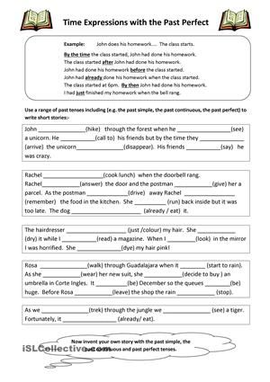 past perfect tense worksheets pdf with answers