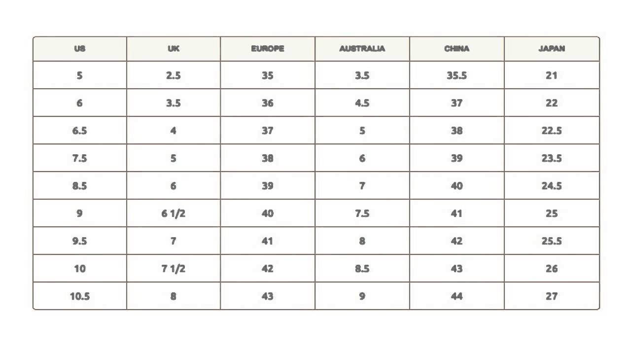 mse ladies shoes size guide