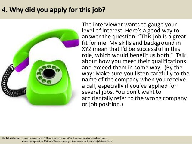 job application interview and answers
