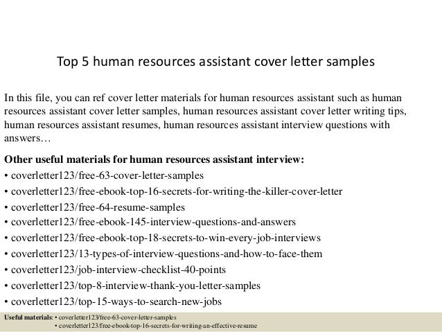 hr assistant application letter free template