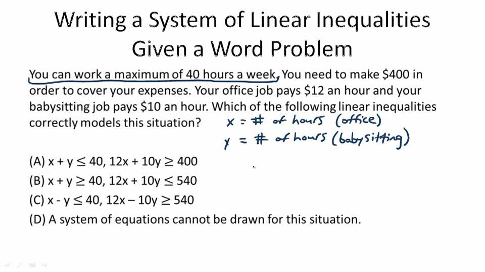 linear equations and inequalities word problems with solution pdf